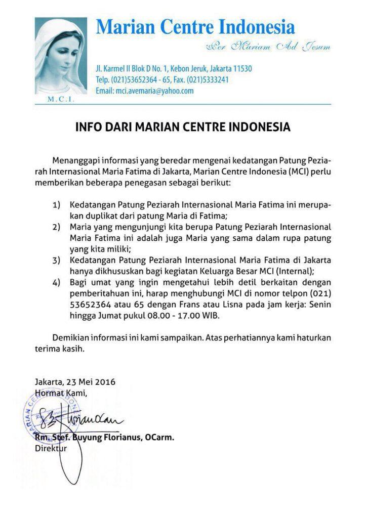 Patung Bunda Maria Fatima Marian Centre Indonesia MCI